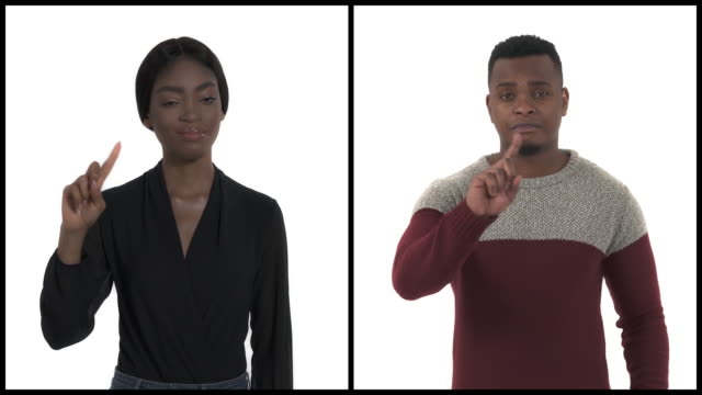 Close-up demonstration of Rejection, No symbol using index finger. Body language concept. African man and woman showing stop sing. Vertical collage
