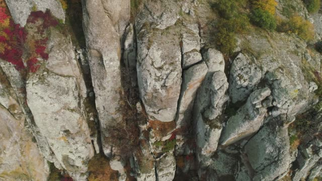 Close-up detail of rocky cliffs. Shot. Nature and rock texture
