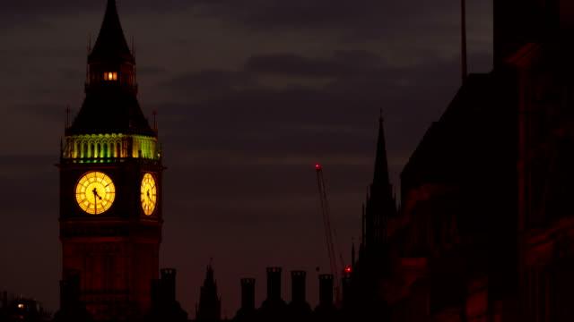 Closeup evening timelapse of the Big Ben (Elizabeth Tower) in London, England, UK video