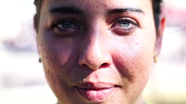 Close-up Face of Beautiful Woman Real People extreme close up stock videos & royalty-free footage