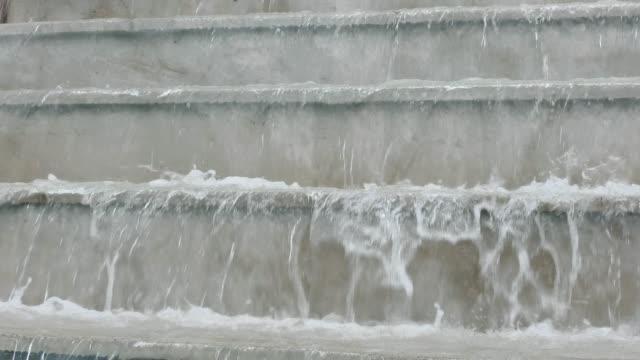 Closeup footage of modern artificial waterfalls