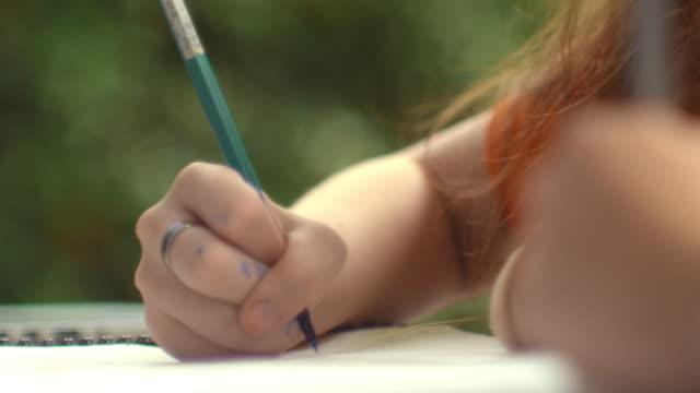 Close-up  : Girl drawing