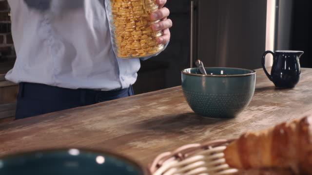 Closeup guy cooking fast breakfast video