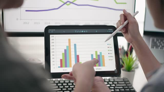 vídeos de stock, filmes e b-roll de close-up equipe de pessoas de mão de negócios usando tablet digital analisando dados de negócios analistas financeiros veem gráficos e gráficos no tablet digital - big data