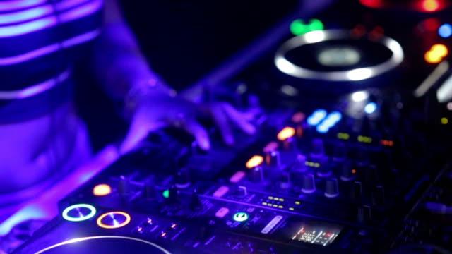 Closeup hand of Dj Decks Turntable at Disco Party Nightclub video