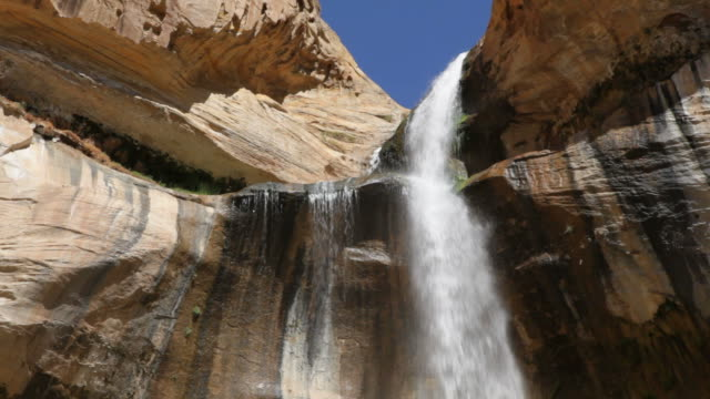 Close-up HD video Calf Creek Falls pours Escalante Monument Utah video
