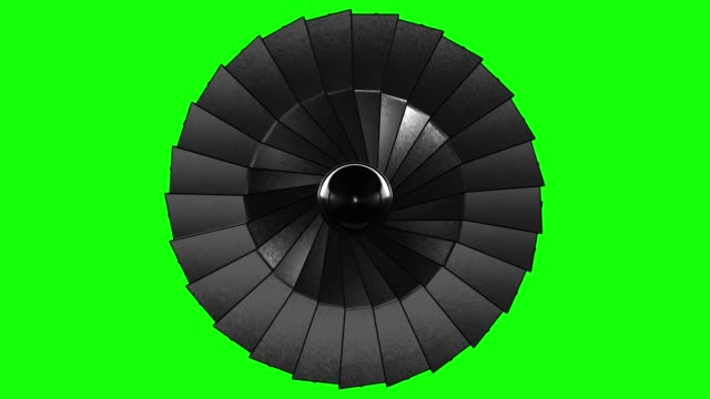 Close-up Jet Turbine Green Screen (Loopable)