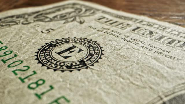 Close-Up Macro Dolly Shot of a 2009 US American One Dollar Bill