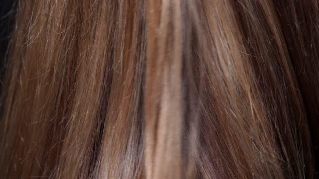 primo piano macro capelli pettinatura attraverso capelli castani biondi - capelli castani video stock e b–roll