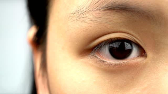 close-up macro shot of asian girl eye - cultura orientale video stock e b–roll