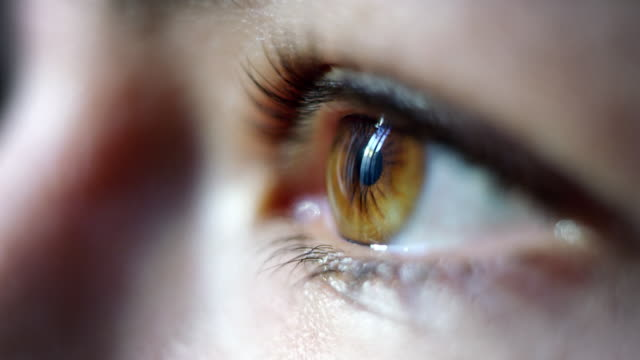 Close-up macro shot of young female human brown eye blinking in slow motion Close-up macro shot of young female human brown eye blinking in slow motion. Concept of moments of life, memory, eye care, optics., lens. Shot with RED 8K serum sample stock videos & royalty-free footage