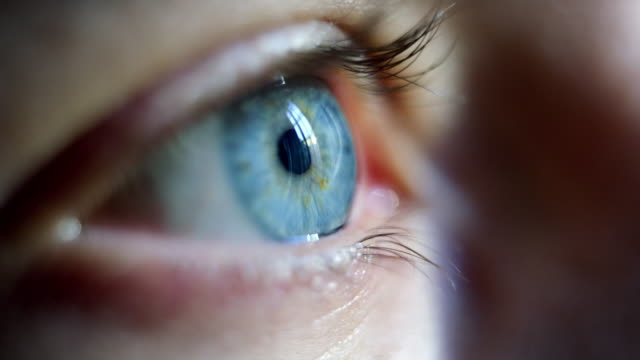 Close-up macro shot of young male human blue eye blinking in slow motion.