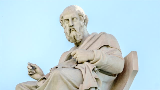 closeup marble statue of the ancient greek philosopher plato in motion - greek architecture stock videos & royalty-free footage