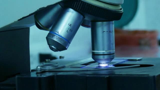 closeup microscope at hospital laboratory video