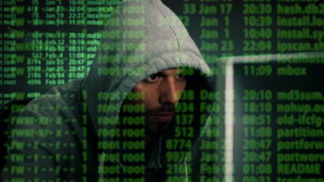 Primer plano medio plano de un Hacker con Hoodie sentado en su computadora de escritorio. Efectos especiales de Hacking proceso mostrado por toda la pantalla. - vídeo