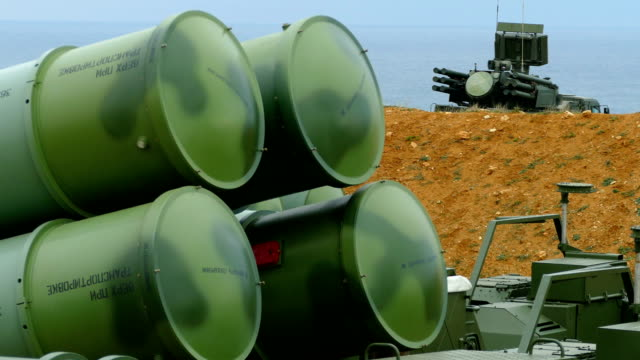 close-up - modern antiaircraft missile system to be brought into combat readiness close-up - modern antiaircraft missile system to be brought into combat readiness nuclear missile stock videos & royalty-free footage