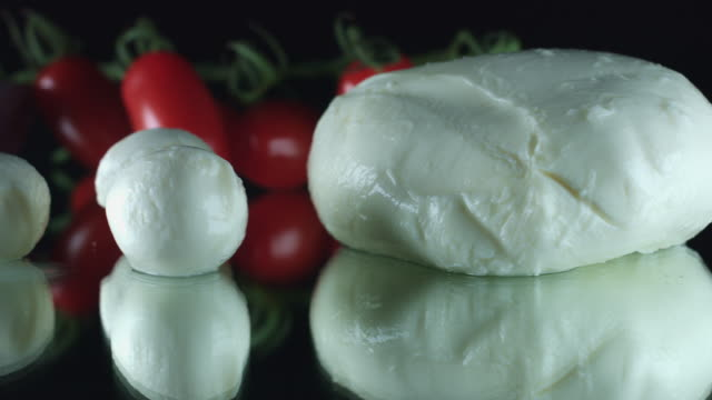 4K Close-up Mozzarella Cheese with Tomatoes video