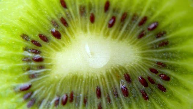 närbild av en droppe vatten eller juice droppande från en skiva mogen kiwi. frukt avger färskhet och juice. frukt för kost och hälsosam mat koncept - kiwifrukt bildbanksvideor och videomaterial från bakom kulisserna