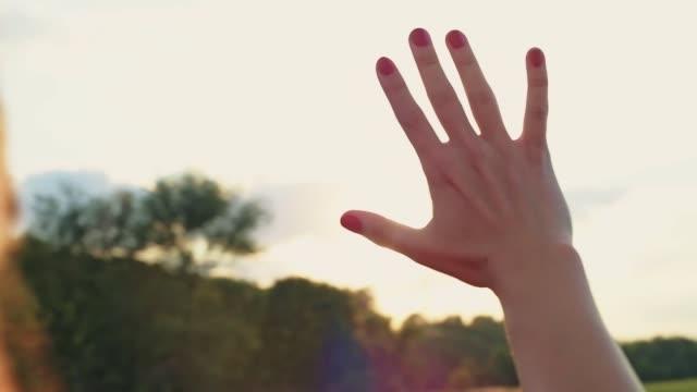 女性の手のクローズアップ, 太陽が指を通して輝いています。. - 指点の映像素材/bロール
