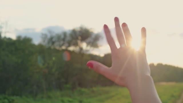 女性の手のクローズアップ, 太陽が指を通して輝いています。. - 女性 手点の映像素材/bロール