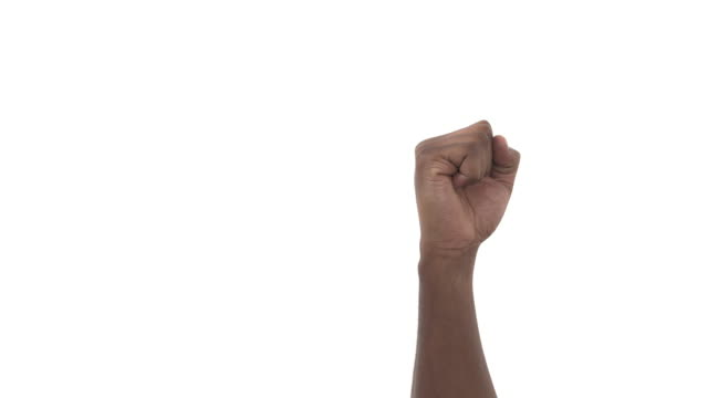Close-up of a man clenching fist and opening his palm, isolated on a white background
