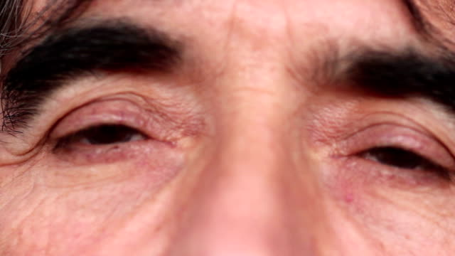 Close-up of a man's eyes video
