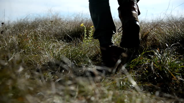 Closeup of a mans's foot whose silhouette goes beyond the horizon into defocus. Walks across a field of wild grass