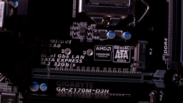 Close-up of a new computer motherboard video
