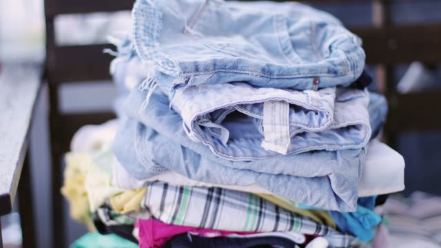 closeup of a pile of clean laundry. - mucchio video stock e b–roll