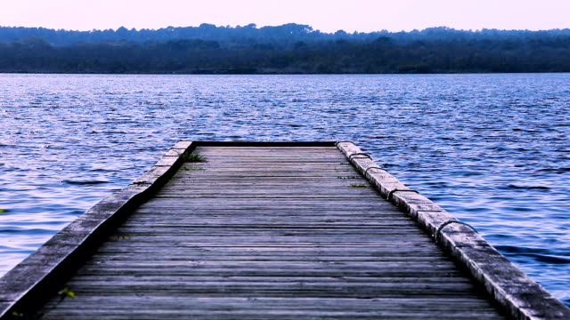 Close-up of a pontoon bridge on a lake in France. A relaxing view over blue water under the sun, with the shore in the background. View over a lake from a pontoon with no people. A wooden pontoon leading to the lake under blue sky. The shore with trees and sand can be seen in the background, close to the pontoon. The sun reflecting in the water. jetty stock videos & royalty-free footage