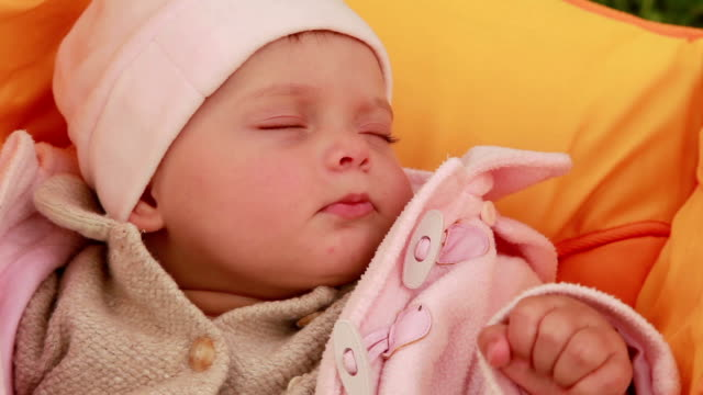Close-up of a sleeping baby video