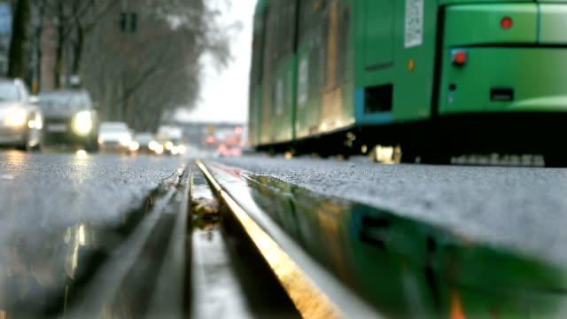 Closeup of a Tramline on a Rainy Day video