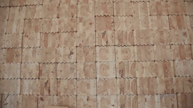 Close-up of a wall, upholstered wooden elements video