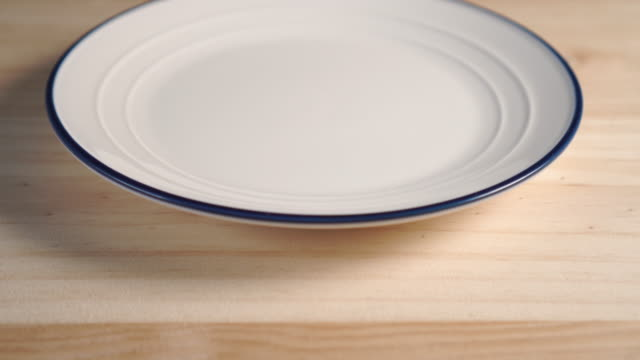 Close-up of a white plate with a blue stripe around the edge