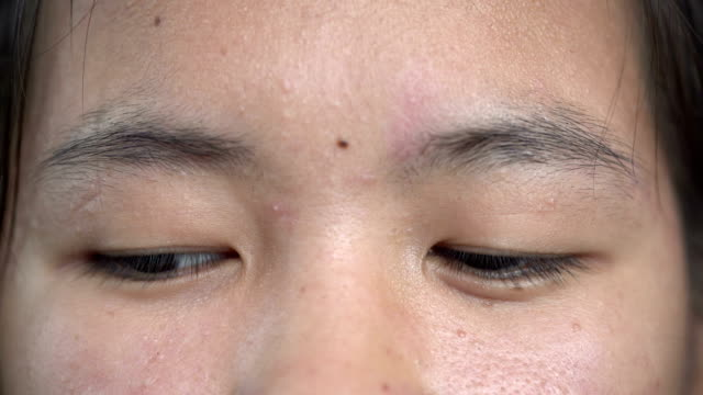 Close-up of a young girl eyes opening and blinking video