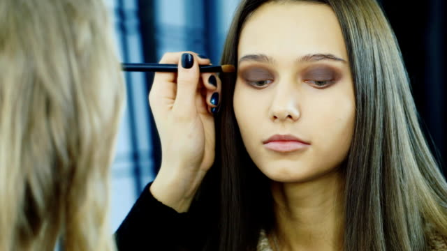 Close-up of a young woman: where to apply makeup video