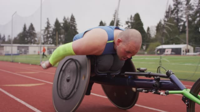 Closeup of an Intense Adaptive Athlete Training
