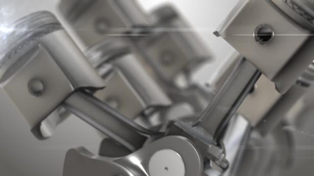 primo primo del motore di animazione pistoni - cilindro video stock e b–roll