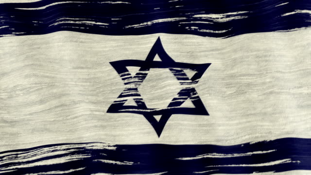 Closeup of art brush watercolor painting Israil flag blown in the wind. video
