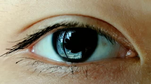 vidéos et rushes de plan rapproché de l'ouverture asiatique d'oeil - oeil