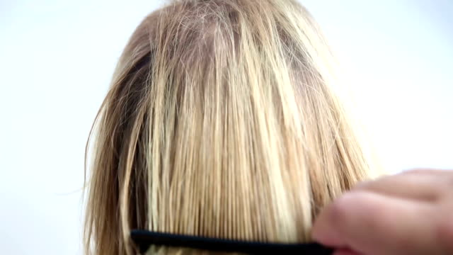 closeup of backside of head with tousled hair being combed video
