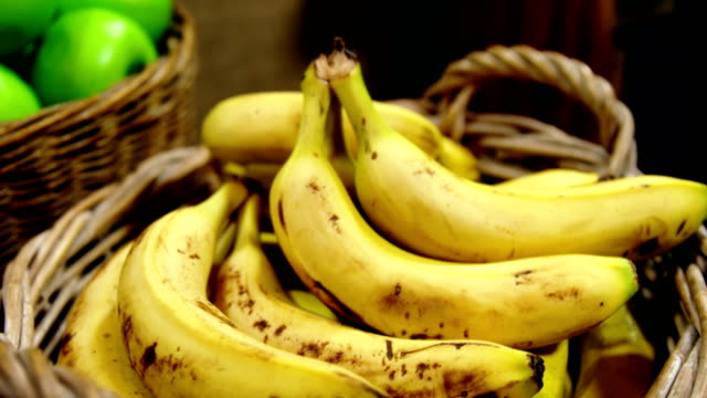 Close-up of bananas in basket video