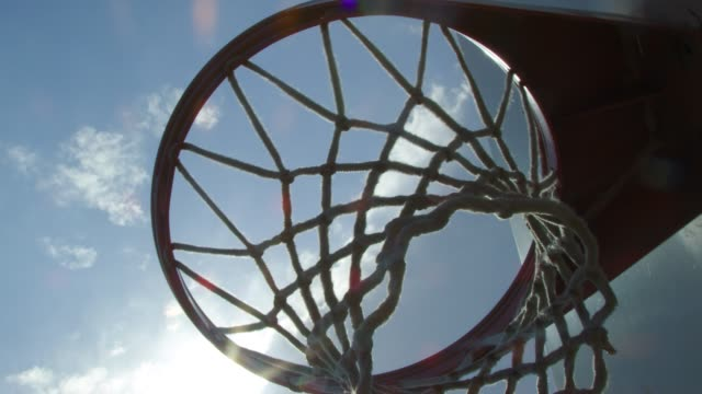 Close-up of basketball net on a beautiful sunny day video