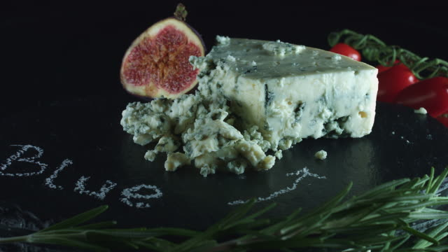 4K Close-up of Blue Cheese with Figs video