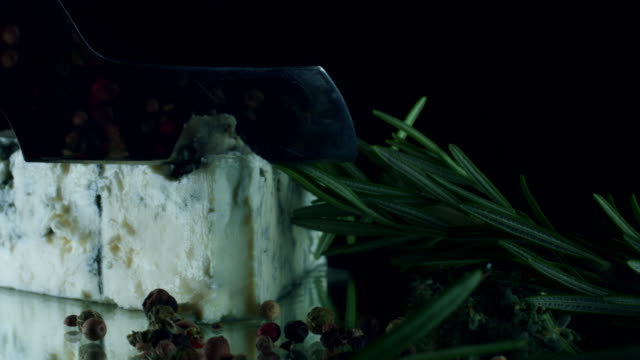 4K Close-up of Blue Cheese with Herbs and Spices video