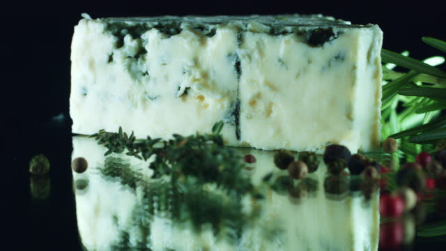 4K Close-up of Blue Cheese with Herbs video