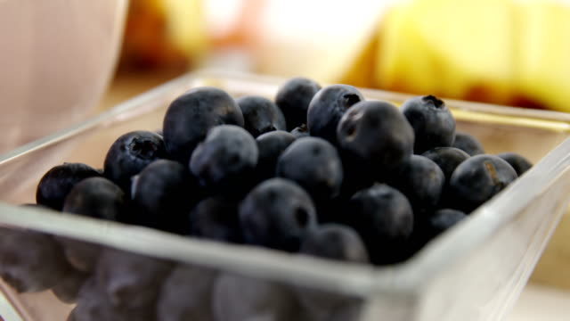 Close-up of blueberry in bowl video