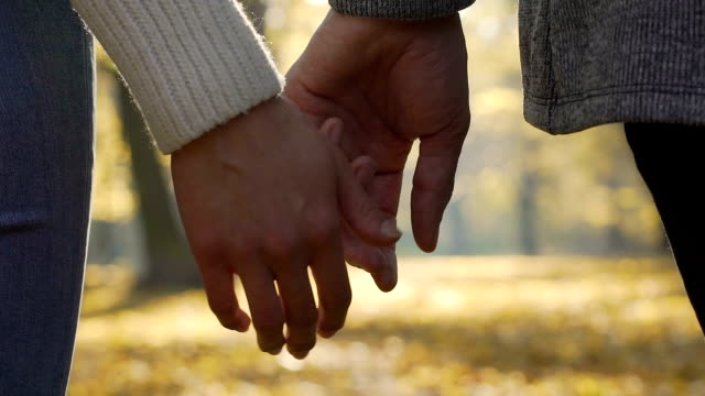 Close-up of boyfriend and girlfriend clasping each other hands in slow-motion video