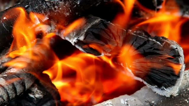 Closeup of burning fire video