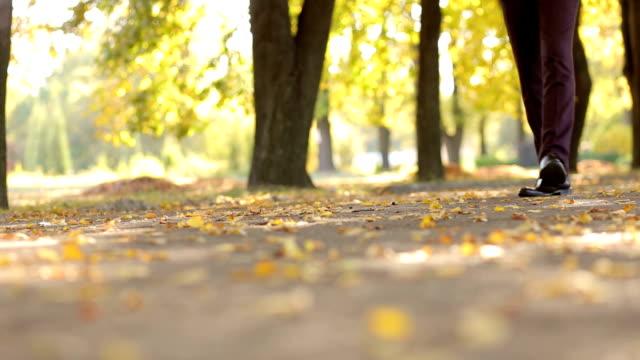 公園の秋を歩く茶色の革の靴で実業家のクローズ アップを残します。 - 革点の映像素材/bロール